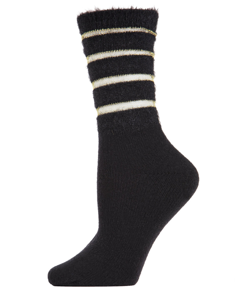 Warm Solid Plush Crew Socks | Socks By MeMoi®  | MCF05395 | Black