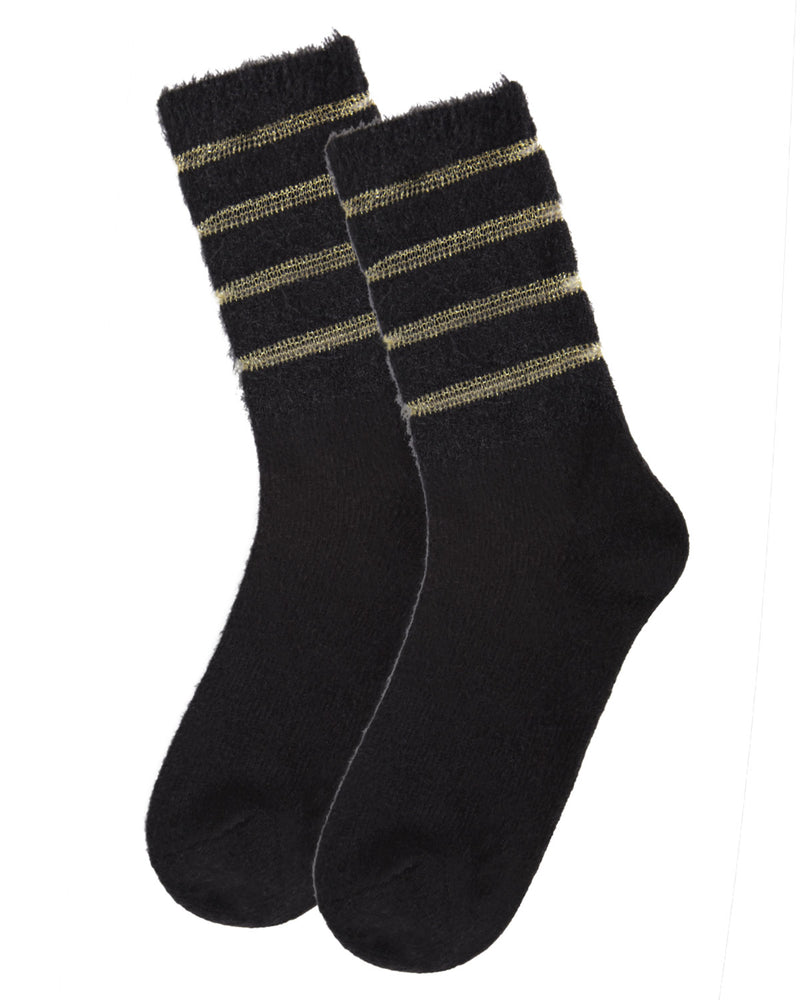 Warm Solid Plush Crew Socks | Socks By MeMoi®  | MCF05395 |  Black 2