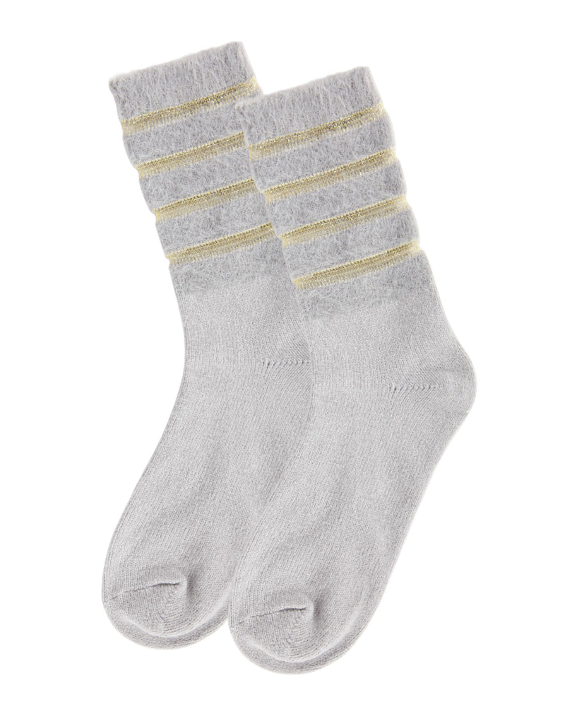 Warm Solid Plush Crew Socks | Socks By MeMoi®  | MCF05395 | Gray 2