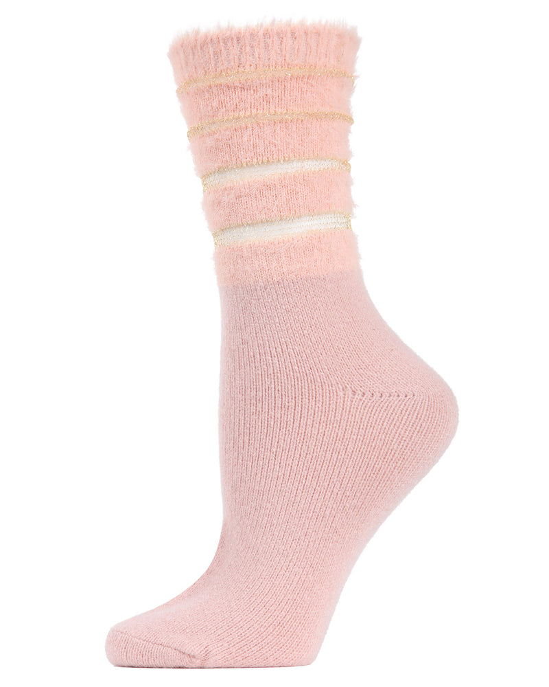 Warm Solid Plush Crew Socks | Socks By MeMoi®  | MCF05395 | Pink