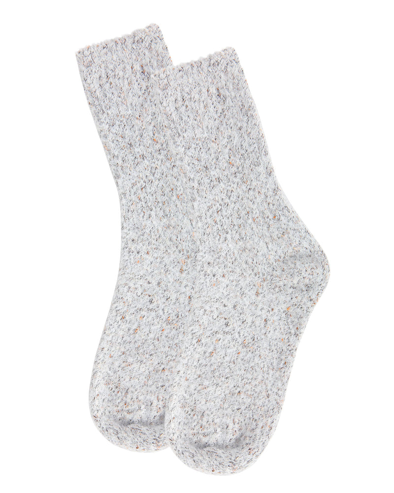 Pretty Glitter Plush Crew Socks | Socks By MeMoi®  | MCF05396 | Light Gray 2