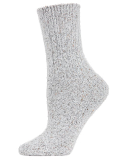 Pretty Glitter Plush Crew Socks | Socks By MeMoi®  | MCF05396 | Light Gray