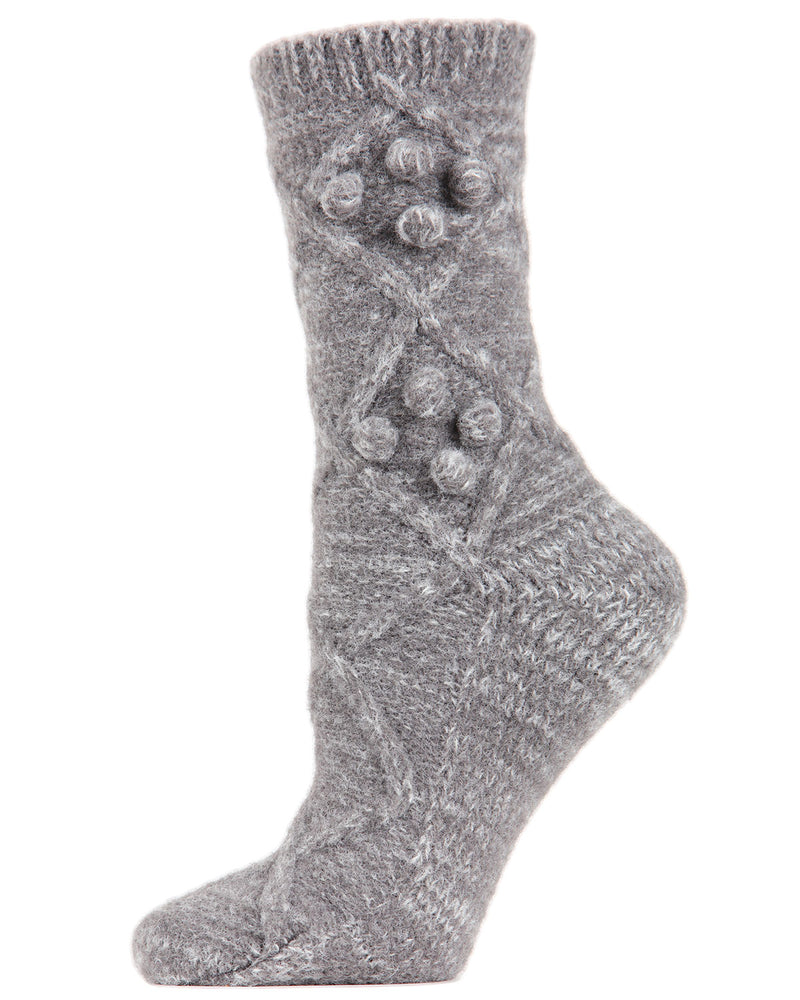 Blissful Bubble Warm Crew Socks | Socks By MeMoi®  | MCF05397 | Gray Heather
