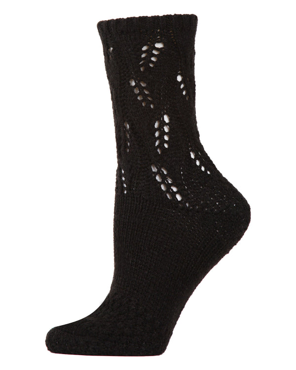 Pointelle Sweater Knit Crew Socks | Slipper Sock By MeMoi®  | MCF05703 | Black