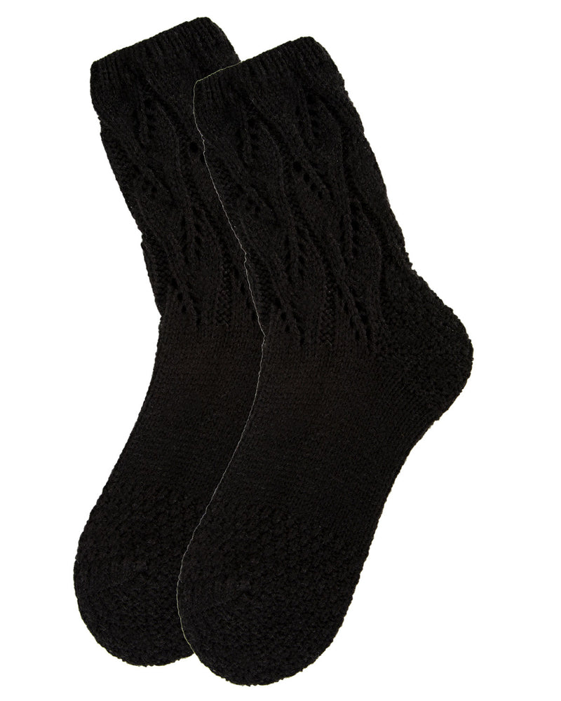 Pointelle Sweater Knit Crew Socks | Slipper Sock By MeMoi®  | MCF05703 | Black  2