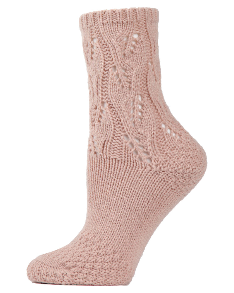 Pointelle Sweater Knit Crew Socks | Slipper Sock By MeMoi®  | MCF05703 | Blush