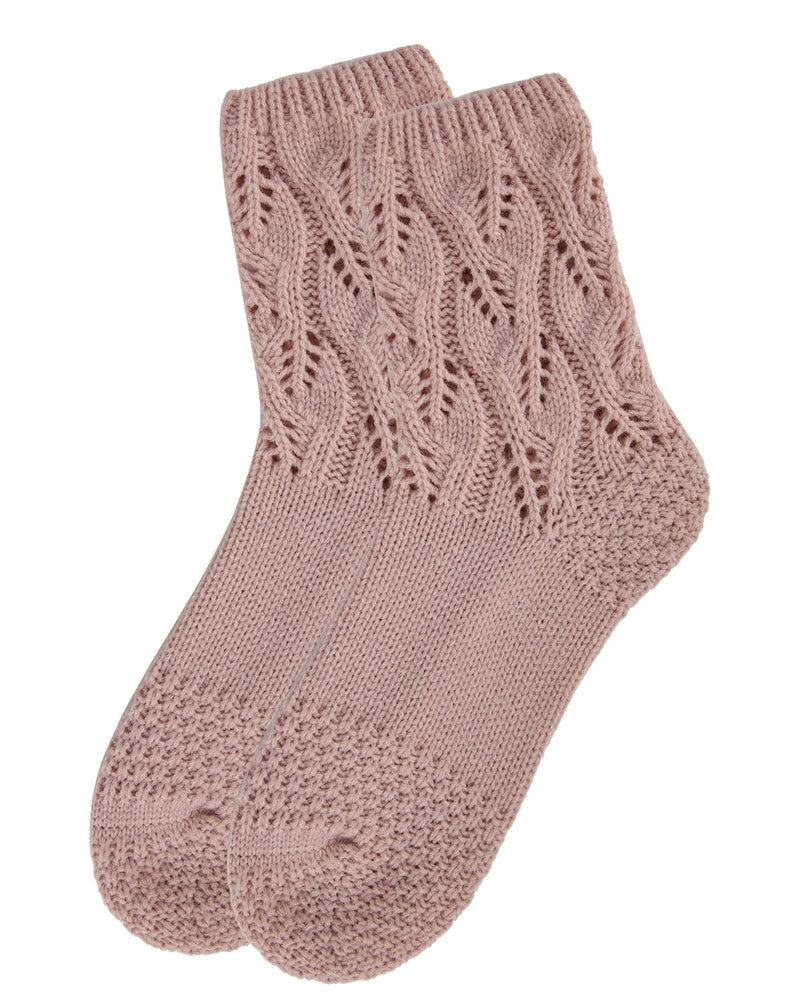 Pointelle Sweater Knit Crew Socks | Slipper Sock By MeMoi®  | MCF05703 | Blush 2