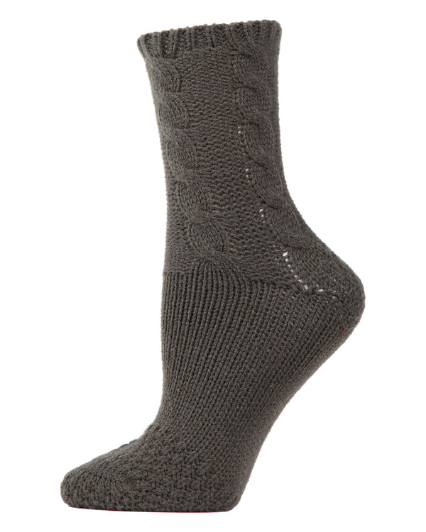 Cable Sweater Knit Crew Socks | Slipper Sock By MeMoi®  | MCF05704 | Cypress
