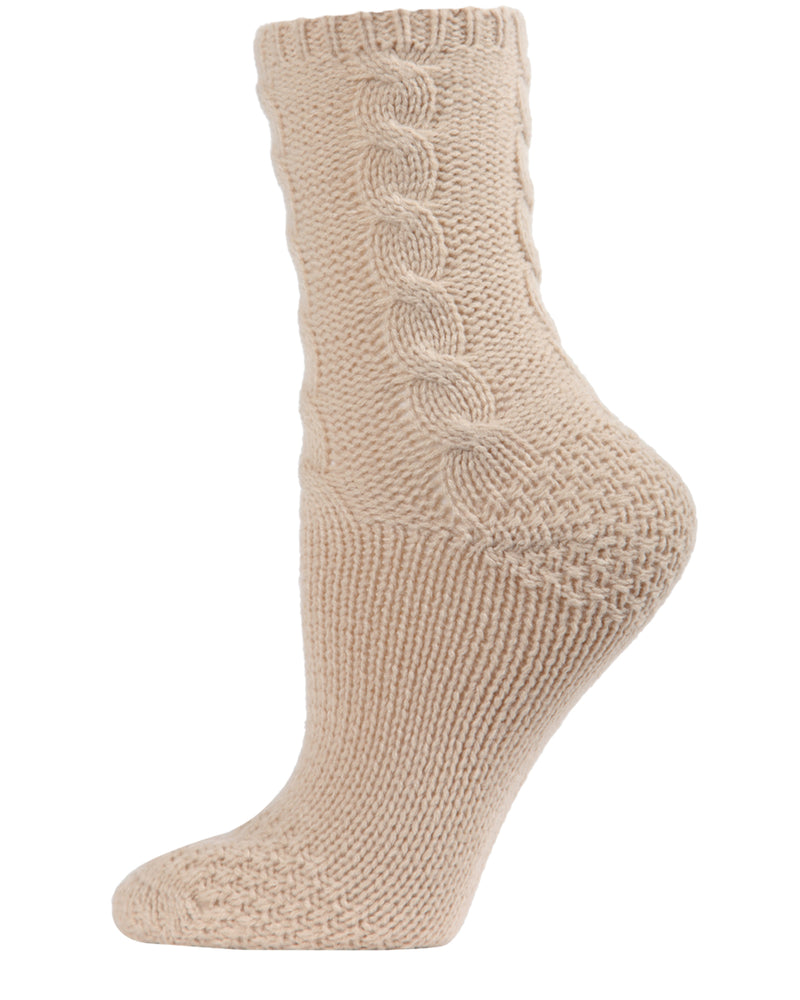Cable Sweater Knit Crew Socks | Slipper Sock By MeMoi®  | MCF05704 | Oatmeal
