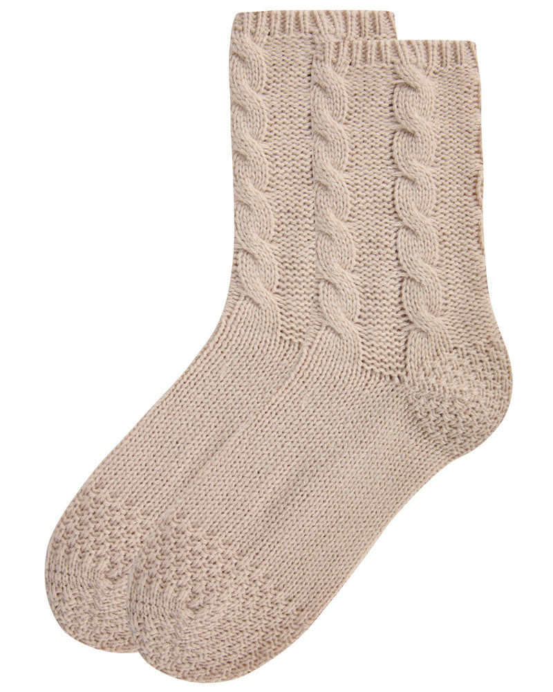 Cable Sweater Knit Crew Socks | Slipper Sock By MeMoi®  | MCF05704 | Oatmeal 2