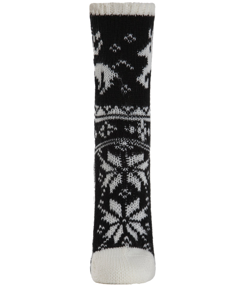 Reindeer Sweater Knit Crew Socks | Sock By MeMoi®  | MCF05705 | Ivory 1