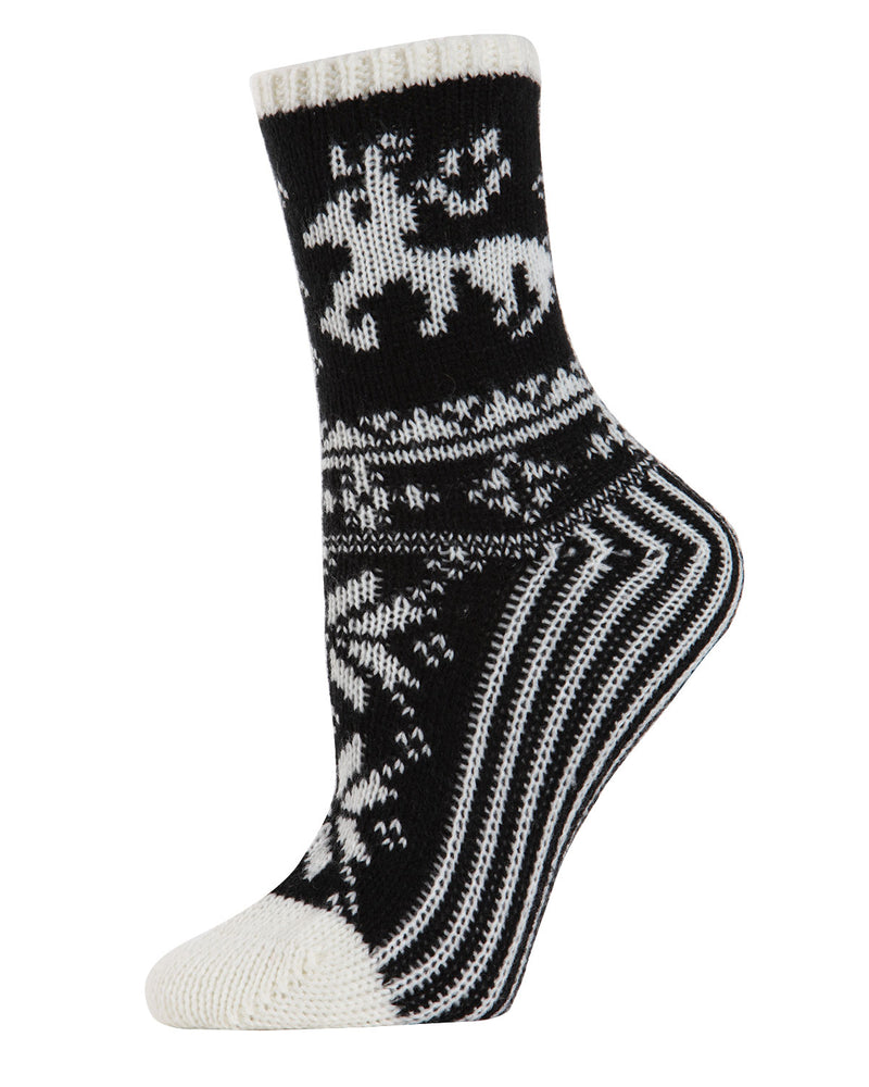 Reindeer Sweater Knit Crew Socks | Sock By MeMoi®  | MCF05705 | Ivory