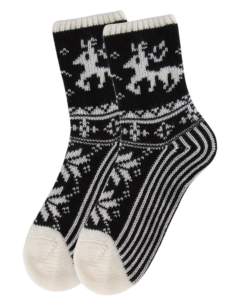 Reindeer Sweater Knit Crew Socks | Sock By MeMoi®  | MCF05705 | Ivory 2