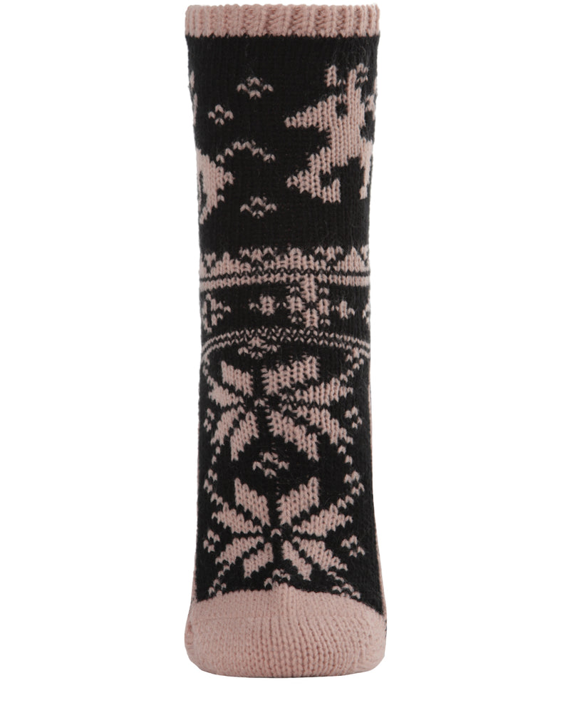 Reindeer Sweater Knit Crew Socks | Sock By MeMoi®  | MCF05705 | Blush 1