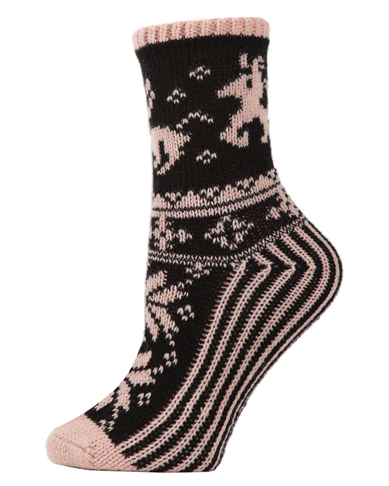 Reindeer Sweater Knit Crew Socks | Sock By MeMoi®  | MCF05705 | Blush