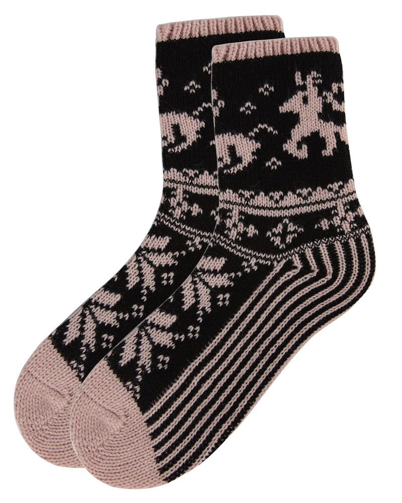 Reindeer Sweater Knit Crew Socks | Sock By MeMoi®  | MCF05705 | Blush 2