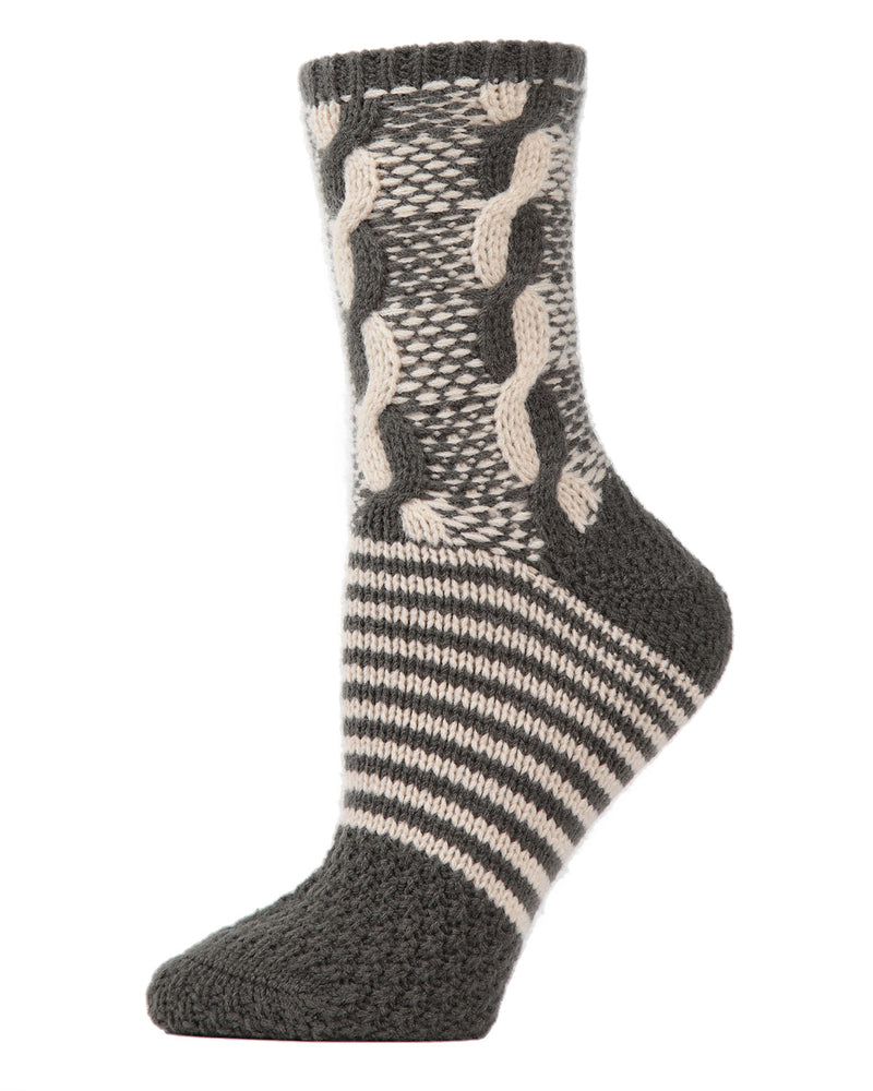 Cable Twist Sweater Knit Crew Socks | Sock By MeMoi®  | MCF05706 | Cypress