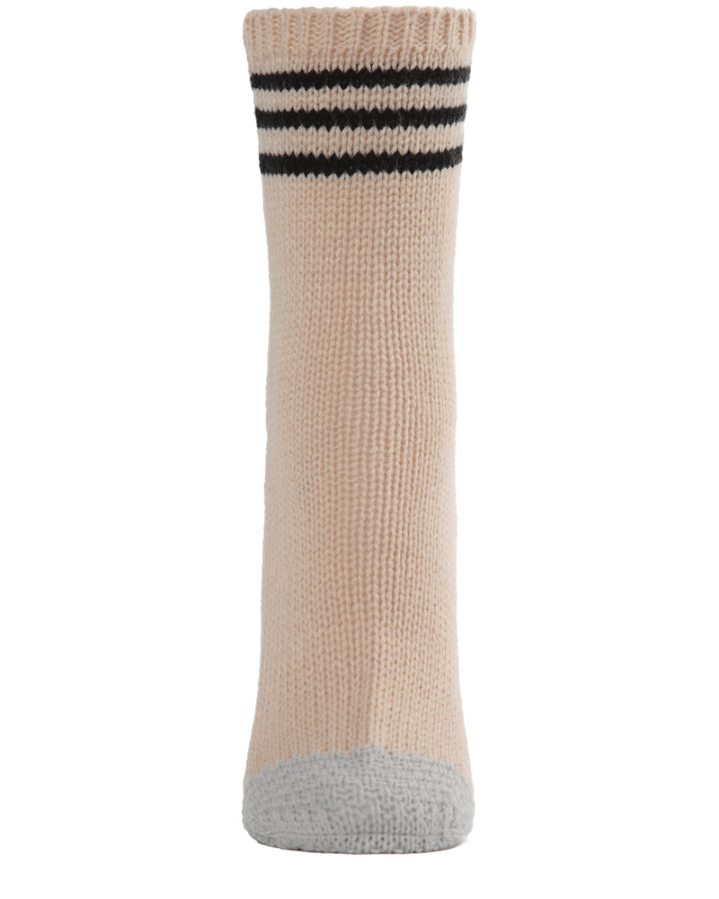 Striped Sweater Knit Crew Socks | Sock By MeMoi®  | MCF05707  |Oatmeal 1