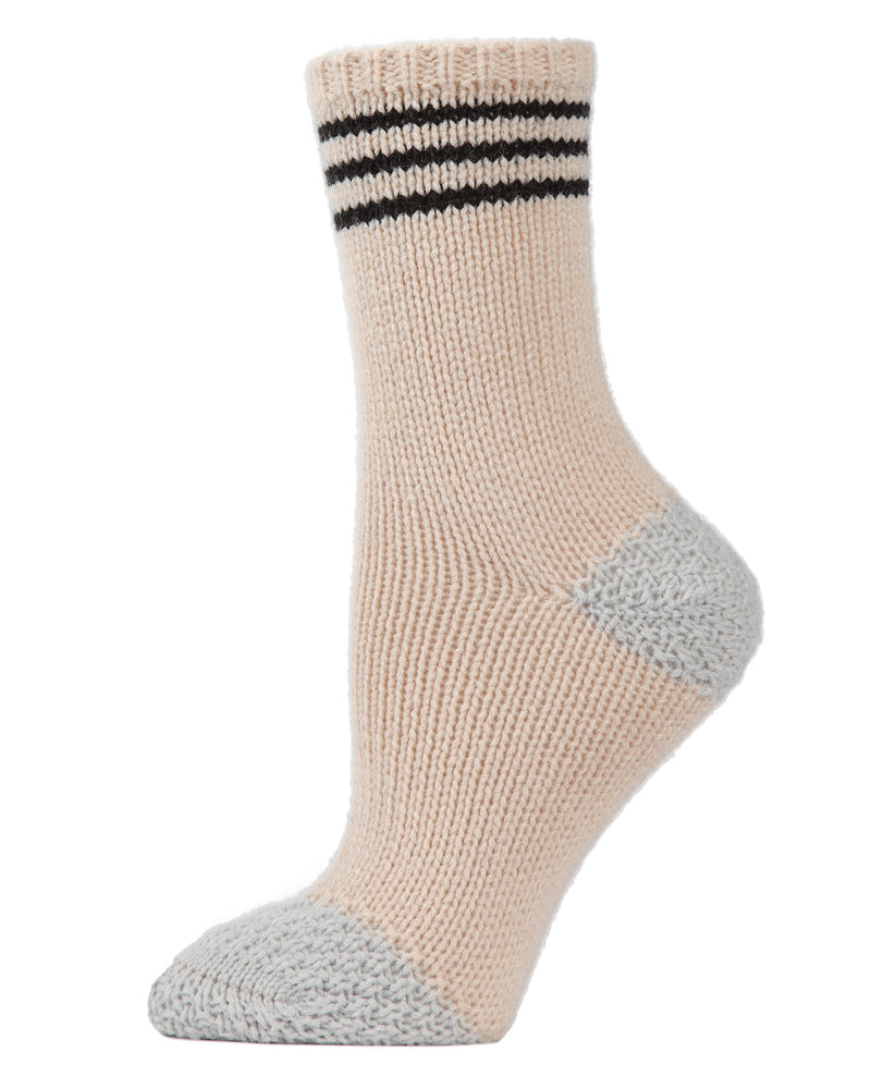 Striped Sweater Knit Crew Socks | Sock By MeMoi®  | MCF05707  |Oatmeal