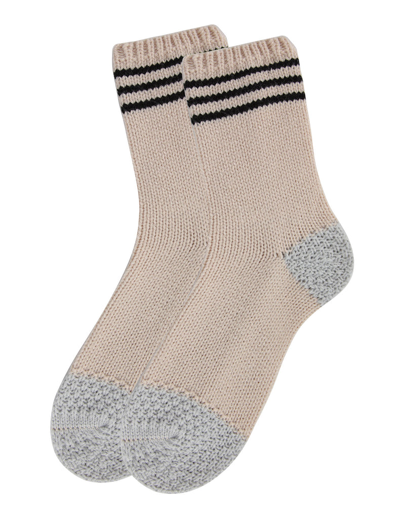 Striped Sweater Knit Crew Socks | Sock By MeMoi®  | MCF05707  | Oatmeal 2