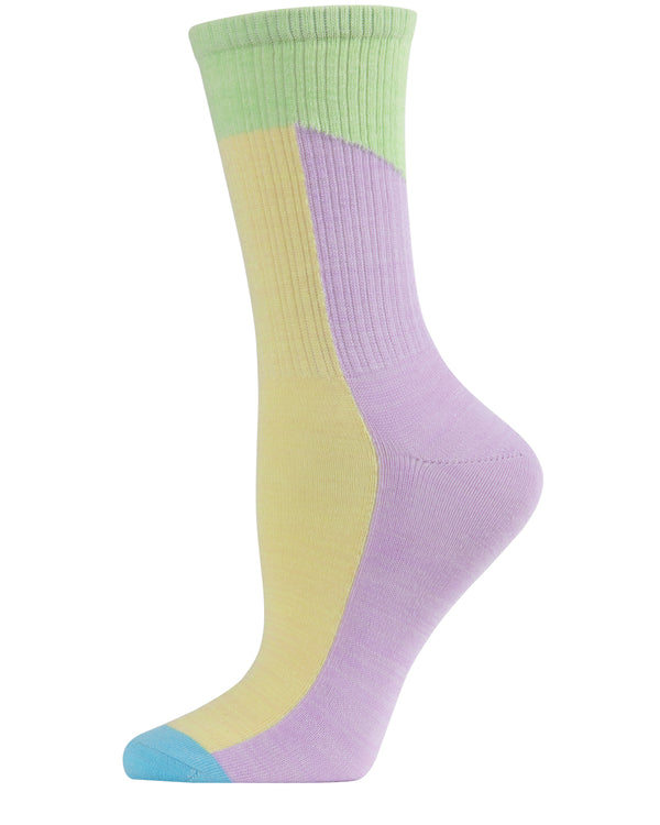 Pastel Patch Crew Socks | Crew Socks by MeMoi® for sports casual business school | MCF06093