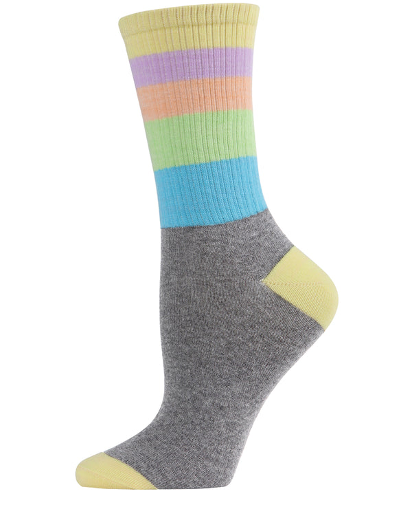 Pastel Stripe Crew Socks | Crew Socks by MeMoi® for sports casual business school | MCF06094