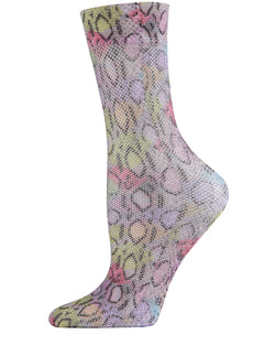 Lounge Lizard Fishnet Crew Socks | Fishnet Crew Socks by MeMoi | MCF06101