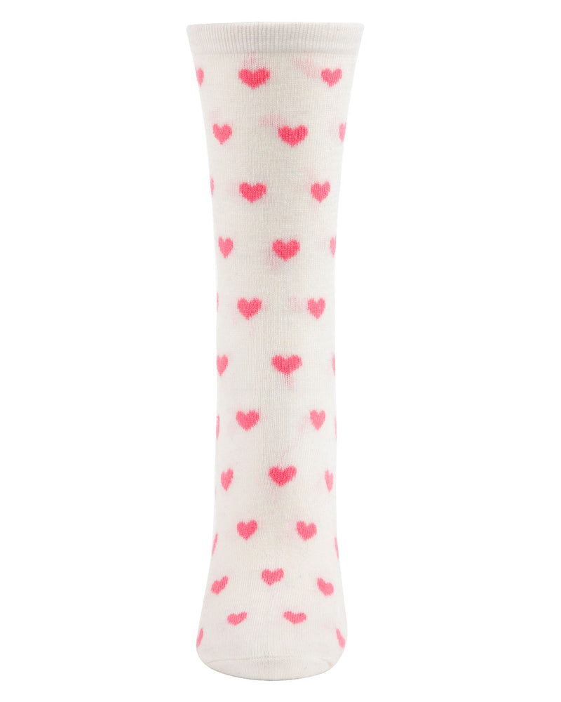 Hearts Cashmere Crew Socks | Socks By MeMoi®  | MCL05861 | Ivory 1