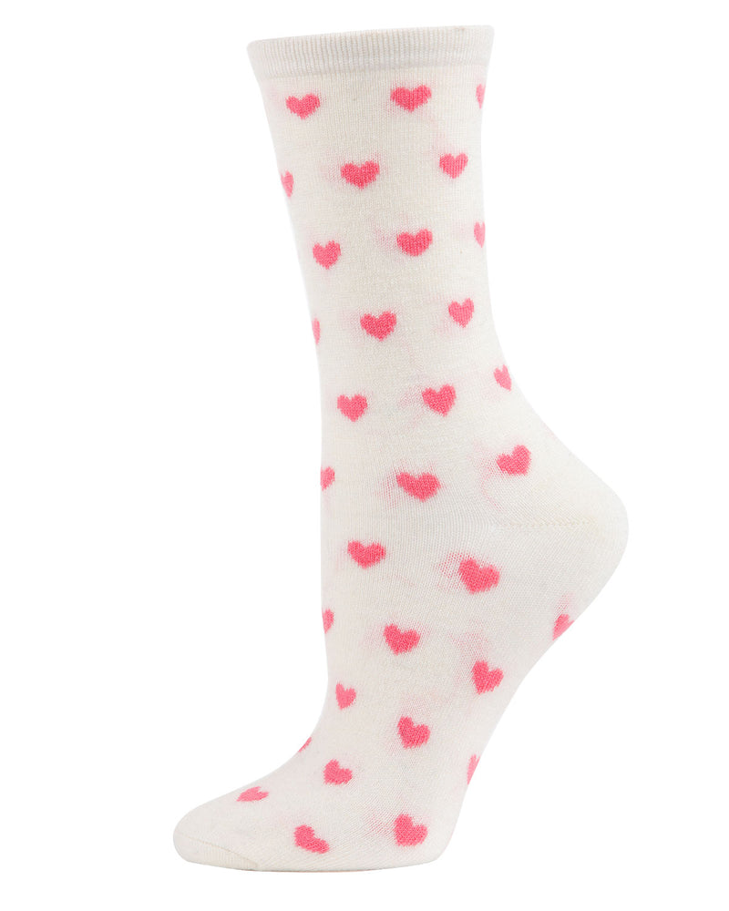 Hearts Cashmere Crew Socks | Socks By MeMoi®  | MCL05861 | Ivory