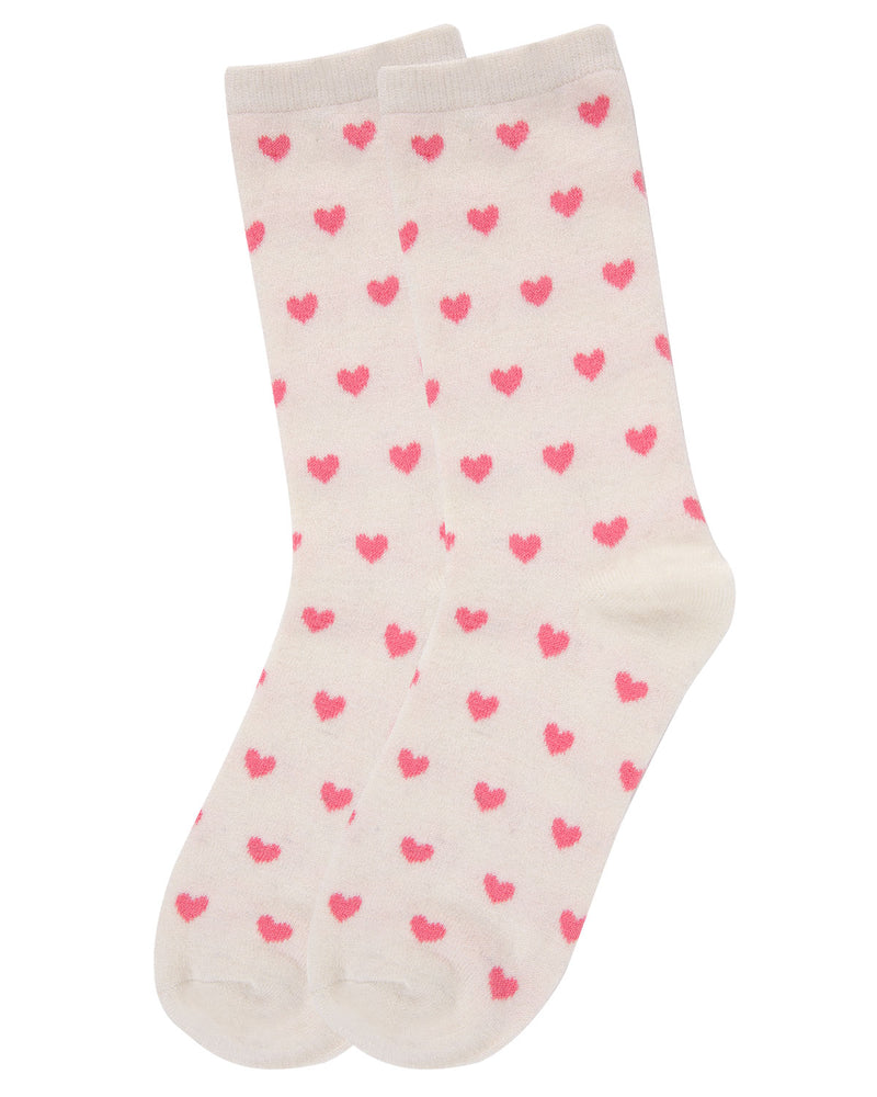 Hearts Cashmere Crew Socks | Socks By MeMoi®  | MCL05861 | Ivory 2