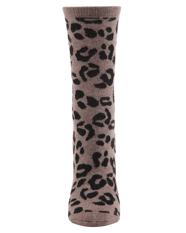 Animal Lovers Leopard Print Cashmere Crew Socks | womens novelty socks by MeMoi | Womens clothing | MCL05862-27031-9-11 Hemp heather -2