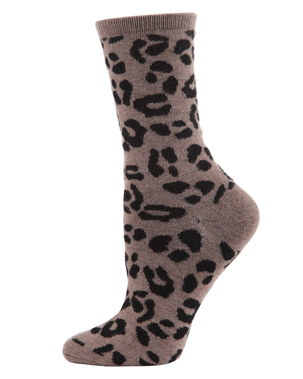 Animal Lovers Leopard Print Cashmere Crew Socks | womens novelty socks by MeMoi | Womens clothing | MCL05862-27031-9-11 Hemp heather -1