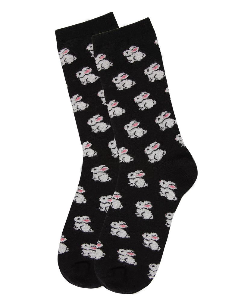 Bunnies Cashmere Crew Socks | womens novelty socks by MeMoi | Womens clothing | MCL05863-00001-9-11 Black -3