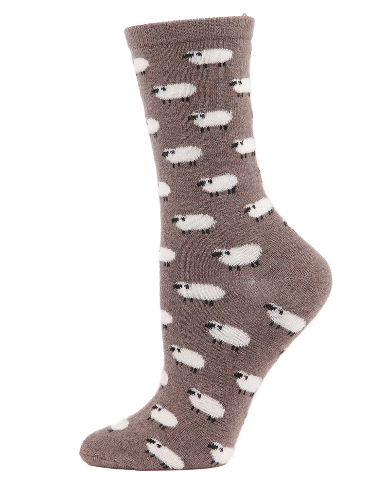 Sheep Cashmere Crew Socks | womens novelty socks by MeMoi | Womens clothing | MCL05864-27031-9-11 hemp heather -1