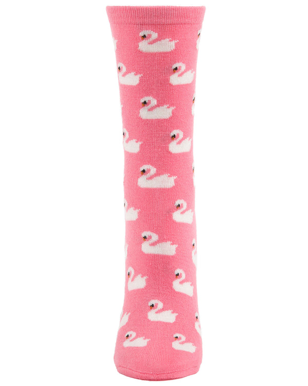 Swan Cashmere Crew Socks | womens novelty socks by MeMoi | Womens clothing | MCL05865-66209-9-11 confetti Pink Heather -2