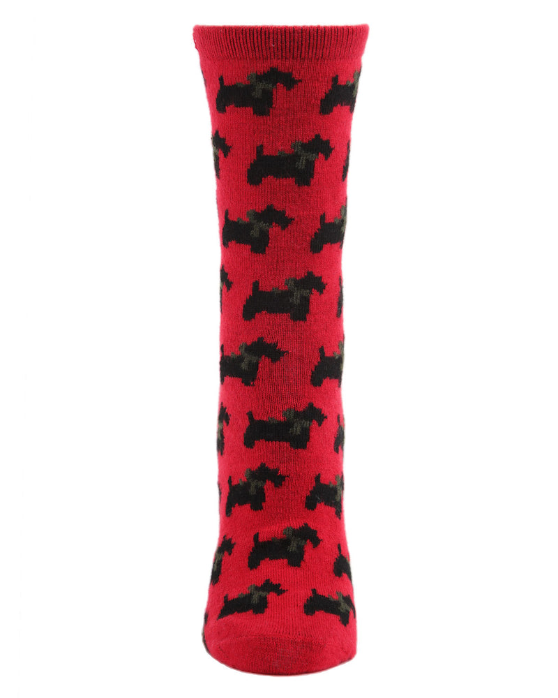 Ribbon Collar Dog Cashmere Crew Socks | womens novelty socks by MeMoi | Womens clothing | MCL05867-62009-9-11 red -2