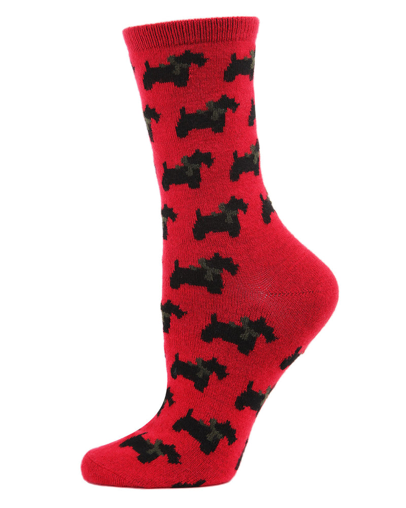 Ribbon Collar Dog Cashmere Crew Socks | womens novelty socks by MeMoi | Womens clothing | MCL05867-62009-9-11 red -1