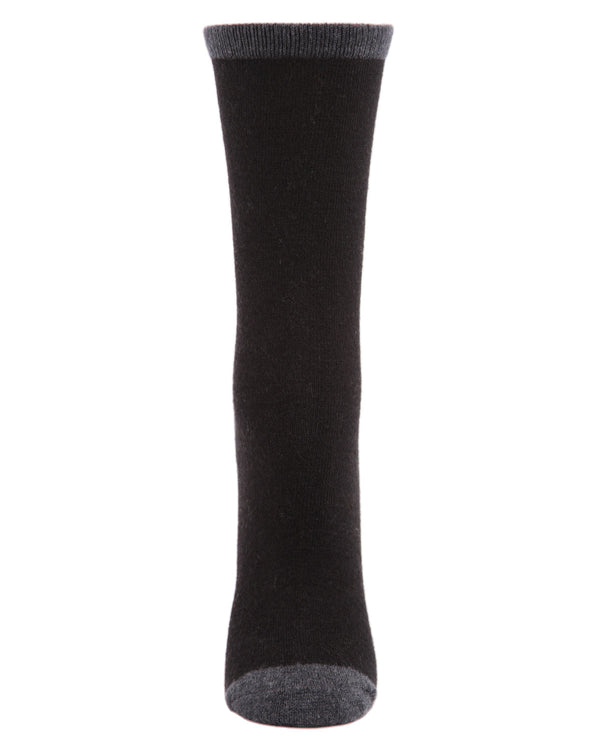 Tipped Flatknit Cashmere Crew Socks | womens socks by MeMoi | Womens clothing | MCL05869-00001-9-11 black -2