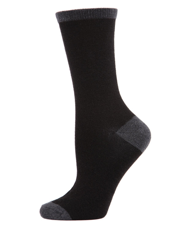 Tipped Flatknit Cashmere Crew Socks | womens socks by MeMoi | Womens clothing | MCL05869-00001-9-11 black -1