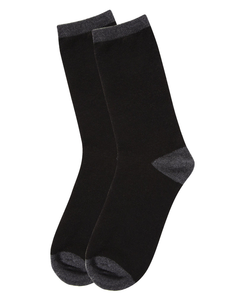 Tipped Flatknit Cashmere Crew Socks | womens socks by MeMoi | Womens clothing | MCL05869-00001-9-11 black -3