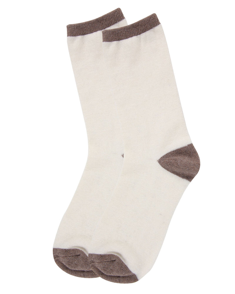 Tipped Flatknit Cashmere Crew Socks | womens socks by MeMoi | Womens clothing | MCL05869-75002-9-11 ivory-3