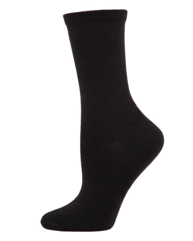 Flatknit Cashmere Crew | womens socks by MeMoi | Womens clothing | MCL05870-00001-9-11 Black -1