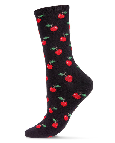 Cherry On Top Cashmere Blend Crew Socks