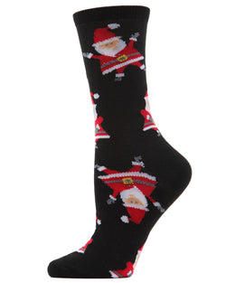 MeMoi Santa Crew Socks | Women's Christmas Fun Holiday Novelty Socks | Black - MCV04074