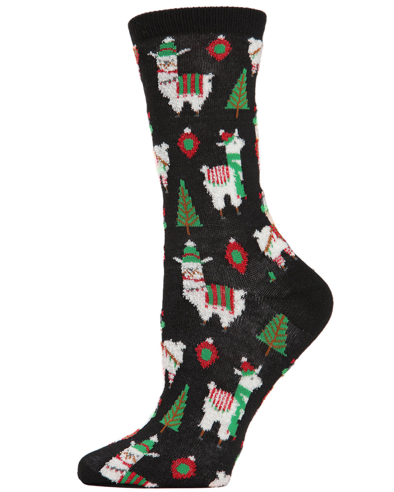 MeMoi Holiday Llama Crew Socks | Women's Fun Christmas Socks | Merry Christmas | Black MCV04077