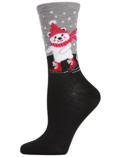 MeMoi Skating Polar Bear Crew Socks | Women's Fun Christmas Socks | Merry Christmas | Black MCV04079