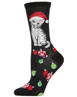 MeMoi Cute Christmas Kitty Crew Socks | Women's Fun Christmas Socks | Merry Christmas | Black MCV04080