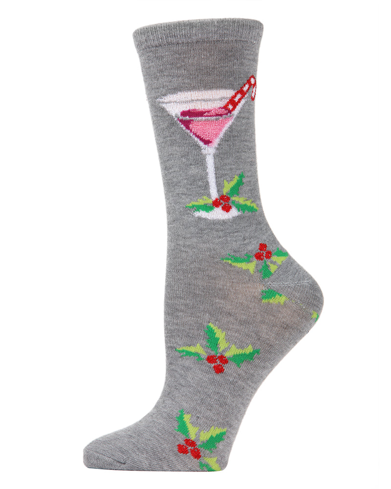 MeMoi Christmas Cocktail Crew Socks | Women's Fun Christmas Socks | Merry Christmas Novelty | Medium Gray Heather MCV04082