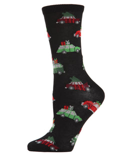 MeMoi Christmas Caravan Crew Socks | Women's Fun Novelty Socks | Merry Christmas | Black MCV04084