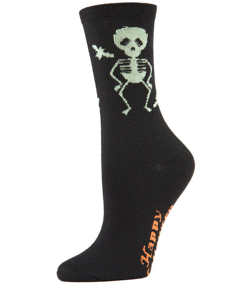 MeMoi Glow in the Dark Skeleton Socks | Fun Socks for Women | Halloween Novelty Socks | MCV04086 - Black